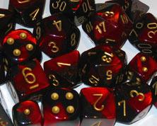 Gemini Black-Red / Gold 7 Dice Set - CHX26433