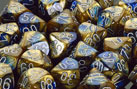 Gemini Blue-Gold w/White  Polyhedral Dice Set (7)