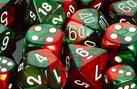 Gemini Green-Red / White 7 Dice Set - CHX26431