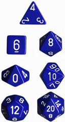 Opaque Blue / White 7 Dice Set - CHX25406
