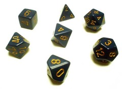 Blue w/Copper Opaque Polyhedral 7-die Set