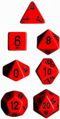 Opaque Red / Black 7 Dice Set - CHX25414