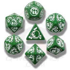 Green & White Elven 7 Dice set