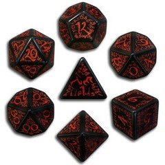 Black & Red Elven 7 Dice set