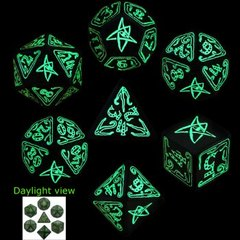 Cthulhu Green Glow in the Dark 7 Dice set