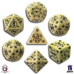 Beige & Black Pathfinder 7 Dice set