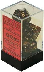 Blue Blood w/gold Scarab Polyhedral 7 Dice Set - CHX27419