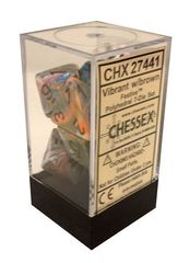7 Vibrant w/brown Festive Polyhedral Dice Set - CHX27441