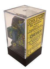 7 Rio w/yellow Festive Polyhedral Dice Set - CHX27449