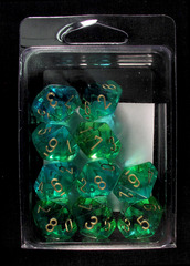 10 Green-Teal w/Gold Translucent Gemini D10 Dice Set - CHX26238