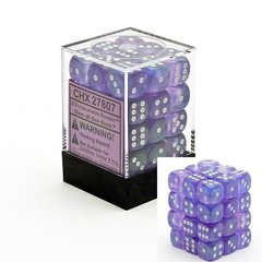 36 Purple w/white Borealis 12mm D6 Dice Block