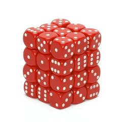 Opaque 36 Red w/white 12mm D6 Dice Block CHX25804