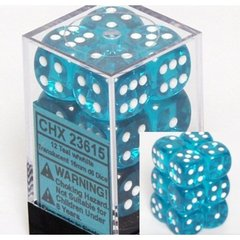 12 Translucent Teal w/white 16mm D6 Dice Block - CHX23615