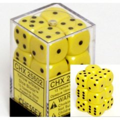 12 Yellow w/black Opaque 16mm D6 Dice Block - CHX25602