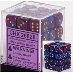 36 Blue-Purple w/gold Gemini 12mm D6 Dice Block - CHX26828