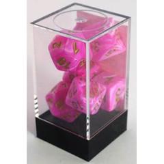 7 Pink w/Gold Vortex Polyhedral Dice Set - CHX27454