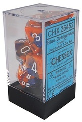 7 Blue-Orange w/White Gemini Polyhedral Dice Set - CHX26452