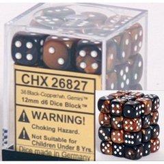 36 Black-Copper w/white Gemini 12mm D6 Dice Block - CHX26827