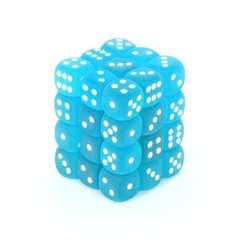 36 Frosted Caribbean Blue w/white 12mm D6 Dice Block - CHX27816
