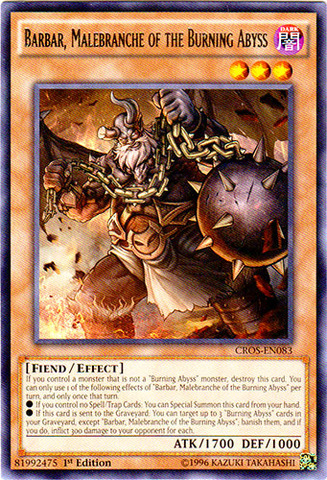 Barbar, Malebranche of the Burning Abyss - CROS-EN083 - Rare - 1st Edition