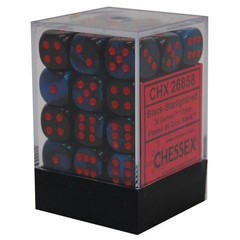 36 Gemini Black-Starlight/red 12mm d6 Dice Block - CHX26858