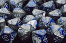 Gemini Blue-Steel w/White Polyhedral Dice Set (7)