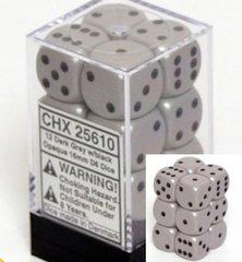 12 Dark Grey w/black Opaque 16mm D6 Dice Block - CHX25610