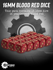 16mm Blood Red Dice x15