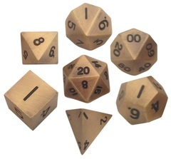 Metallic Dice 16mm Antique Gold Metal Dice Set