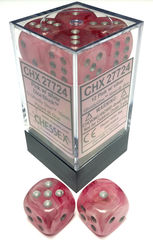 Ghostly Glow Pink and Silver 12ct 16mm D6 Dice Block - CHX27724