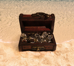 Mini Treasure Chest Dice Set - Silver