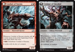 Conduit of Storms // Conduit of Emrakul - Foil on Channel Fireball