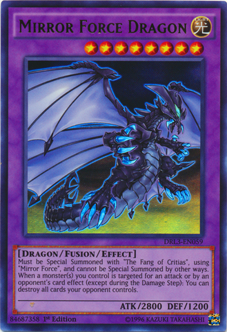 Mirror force dragon drl3 en059 ultra rare yu gi oh for Mirror force
