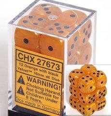 12 Orange with black Velvet 16mm D6 Dice Block - CHX27673