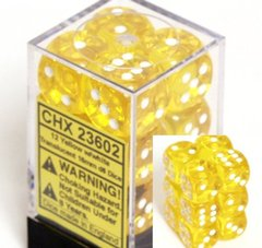 CHX 23602 Yellow w/White Dice Block (12 Translucent 16mm Pipped d6 Dice)