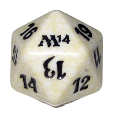20 Sided Spindown Die - Magic 2014 (White) on Channel Fireball