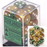 12 Gemini Gold-Green w/white 16mm D6 Dice Block - CHX26625