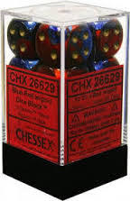 12 Gemini Blue-Red w/Gold 16mm D6 Dice Block - CHX26629