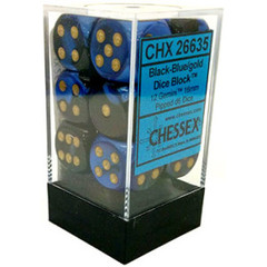 Chessex 12 ct Black-Blue w/gold Gemini 16mm D6 - (26635)