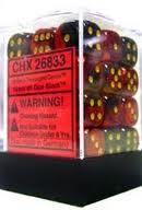 36 Black-Red w/gold Gemini 12mm D6 Dice Block - CHX26833