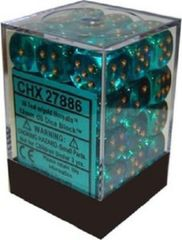 27886 36 Teal w/gold Borealis 12mm D6 Dice Block