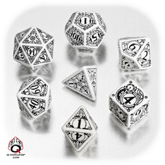 White & Black Steampunk 7 Dice set