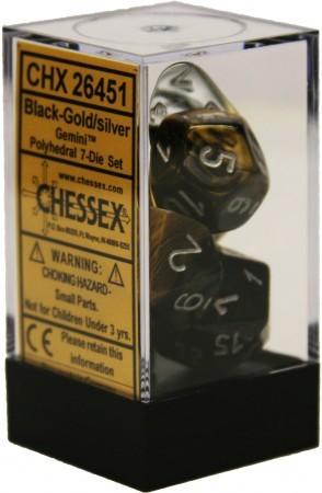 7 die Polyhedral Gemini Black Gold w/Silver Dice Block - CHX26451