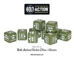 12 Green Bolt Action Order D6 Dice Set