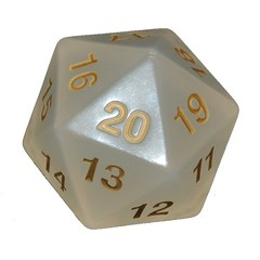 Jumbo Spindown Turndown Countdown D20 55mm Pearl w/ Gold