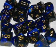 Gemini Black-Blue / Gold 7 Dice Set - CHX26435