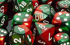 Chessex 7 ct Gemini Green-Red / White Dice Set - CHX26431