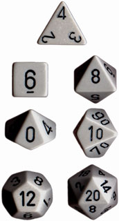 Opaque Dark Grey / Black 7 Dice Set - CHX25410