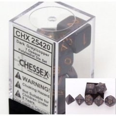 Opaque 7 Dice set (CHX25420) - Dark Grey / Copper