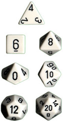 Opaque White / Black 7 Dice Set - CHX25401